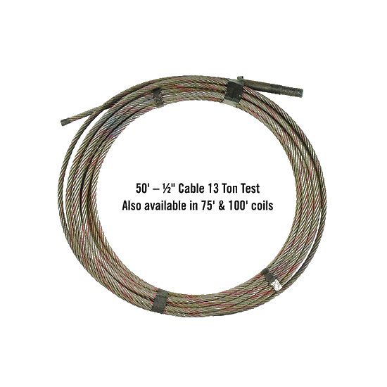 "1/2""x 50' Cable with 3:4 Pressed-On Stud"